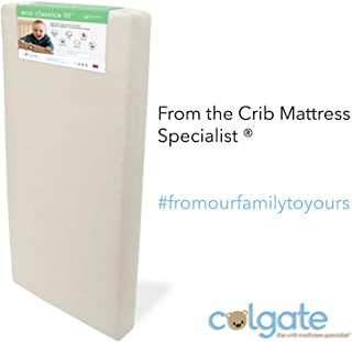 "Colgate Eco Classica III Dual Firmness Orthopedic Style Crib Mattress | Eco-Friendly Foam with Ultra-Soft Organic Waterproof Hypoallergenic Cotton Cover – 51.63"" x 27.25"" x 6"""