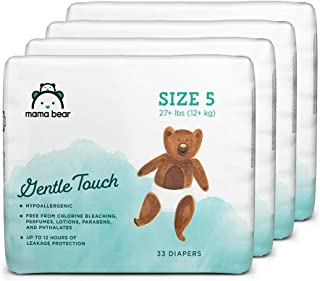 Amazon Brand - Mama Bear Gentle Touch Diapers, Size 5, Assorted Print, 132 Count (4 packs of 33)