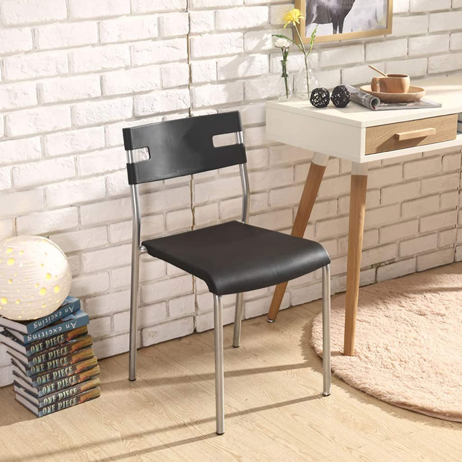 SYFO Household Plastic Chair Simple Economical Chair Computer Stool Restaurant Adult Dining Chair × 2 Stool (color   Black×2)