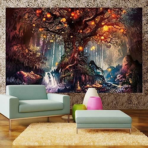 Alumuk Waldmärchen Tapisserie Wandteppich Wandbehang - Laternen & Wasserfälle unter Fantasie großer Baum Wandtuch Gobelin Tapestry Goa Indien Hippie-/ Boho Stil als Dekotuch/Tagesdecke