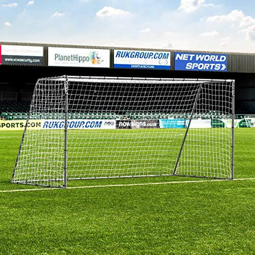 Net World Sports Forza Steel42 Calcio Gol | Acciaio Zincato Calcio Obiettivo | Obiettivo di Gioco del Calcio (3,7m x 1,8m)
