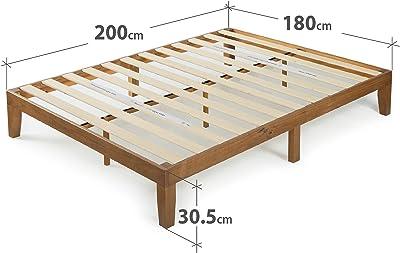 Zinus 30 cm Alexia Sommier Plateforme en Bois | Base Solide en Bois | Support à Lattes en Bois | Facile à Monter | Rangements sous le Lit | 180 X 200 cm | Pin Rustique