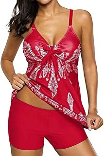 Women'S Printed Short Skirt Suit And Boxer Pants Two-Piece Swimwear Bikini Suit,Red (5Xl)