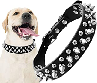 Lovinouse Spiked Leather Dog Collar, Adjustable Anti-bite Pet Studded Collars for Cats Puppy Dogs