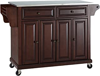 Crosley Furniture KF30002EMA Rolling Kitchen Island with Stainless Steel Top, Vintage Mahogany