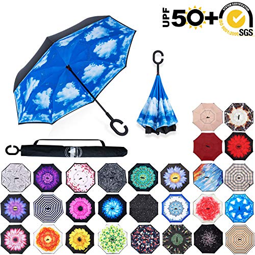 ABCCANOPY Inverted Umbrella,Double Layer Reverse Rain&Wind Teflon Repellent Umbrella for Car and Outdoor Use, Windproof UPF 50+ Big Straight Umbrella with C-Shaped Handle,blue sky