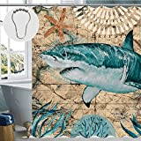 CUS-DES Duschvorhang, schimmelresistent, waschbarer Duschvorhang, Stoff, Badezimmervorhang, langlebig, wasserdicht, Vorhang-Sets mit 12 Metallhaken (Hai)