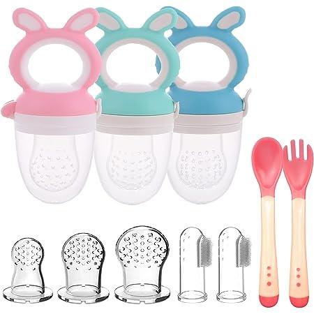 3pcs Chupetes Frutas Bebe Sin BPA Alimentador Antiahogo de Fruta para Bebés + 3 Tetinas de Silicona en 3 Tamaños + 2 Cepillos de Dedo para Bebés (Azul+Rosa+Verde)