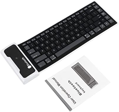 Vige Neue Flexible Silikon Wireless Keyboard Mini-Tastatur mit USB-Ladekabel Universal f r PC Laptop iPad Schwarz