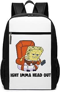 YGYP Ig-ht Im-ma He-ad O-ut M-EME SPO-nge-bob Me-me School Backpack for Girls Boys Kids Teens, Unisex Lightweight Backpack for Men Women College Schoolbag Laptop Backpack Travel Bookbag 17inch Black