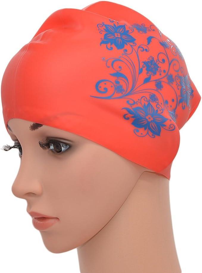 Medifier Women Ladies Elastic Silicone Water Pool Swimming Hat Cap Ear Wrap Hat for Long Hair Adults Flower Print