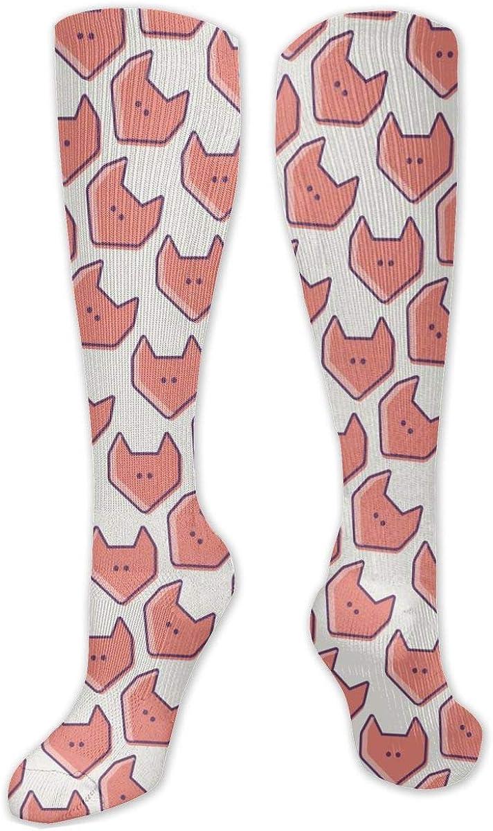 Cute Fox Head Pattern Knee High Socks Leg Warmer Dresses Long Boot Stockings For Womens Cosplay Daily Wear