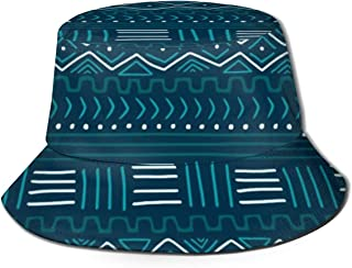 NoneBrand Mudcloth On Teal Flat Top Breathable Bucket Hats Travel Fishermans Hat Unisex Beach Sun Hat