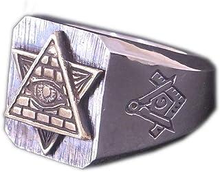 [グランドガレリア] GRAND GALLERIA シルバー925×真鍮(ブラス) ハンドメイド プロビデンスの目 ピラミッド フリーメイソン リング 指輪 RNG-232 (14)