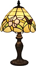Tiffany Style Mini Accent Lamp Yellow Green Pink Floral Butterfly Flower Bedside Nightstand Vintage Antique 15