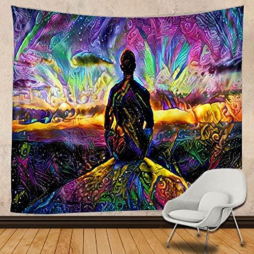 KHKJ Tapiz de Hongos Mandala Indio Hippie Tapiz de macramé Colgante de Pared decoración Boho Tapiz de brujería psicodélica A5 95x73cm
