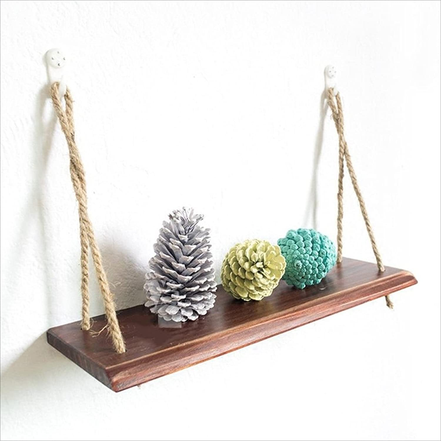 Decorative Accessories Solid Wood Racks Wall Shelf with Hemp Rope Shelves Wall Hanging Living Room Bookshelf Storage Rack Wall-Mounted Clapboard Wall Decorations Design Floating Shelves
