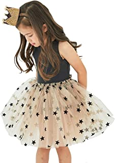 Baby Girl's Sleeveless 4 Layers Cotton Tulle Skirts with Shiny Star Party Tutu Dress for 4-8T