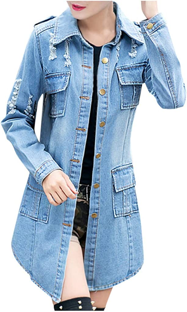 XUETON Women Long Sleeve Denim Jacket Down Si Ripped Max 80% OFF Button Limited price Plus