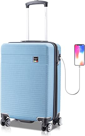 Villago Hardshell Carry On USB port Polycarbonate 8 Wheel Spinner with Slash Proof Zipper TSA Lock