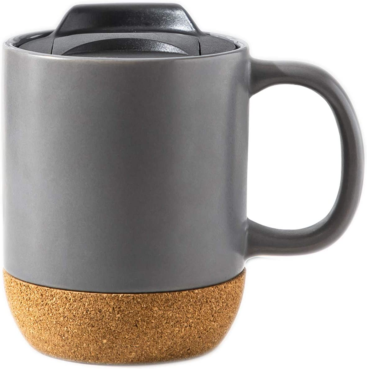 Anti Spill 12 Oz Travel Coffee Mug with Handle Matte Black Ceramic Coffee Mug Cup Tea Cup with Insulated Cork Bottom Matte Ceramic Travel Mug