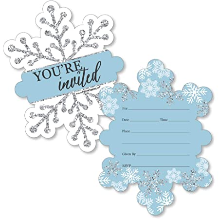 Winter Save the Date Cards Printed Cards Blue Silver Snowflake design on White