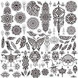 GAJIMiX 9 Sheets Black Temporary Tattoos for Women 80pcs Mandala Henna Sexy Mysterious Long Lasting Tattoo Stickers