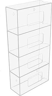 TrippNT 50850 Clear Acrylic Quadruple Side Loading Glove Box Holder, 10