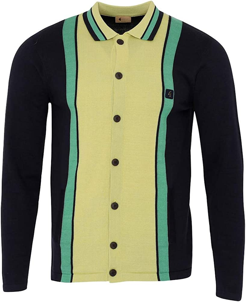 Gabicci Mens Davison 60s Striped Button Knit Cardigan Navy/Beechnut M
