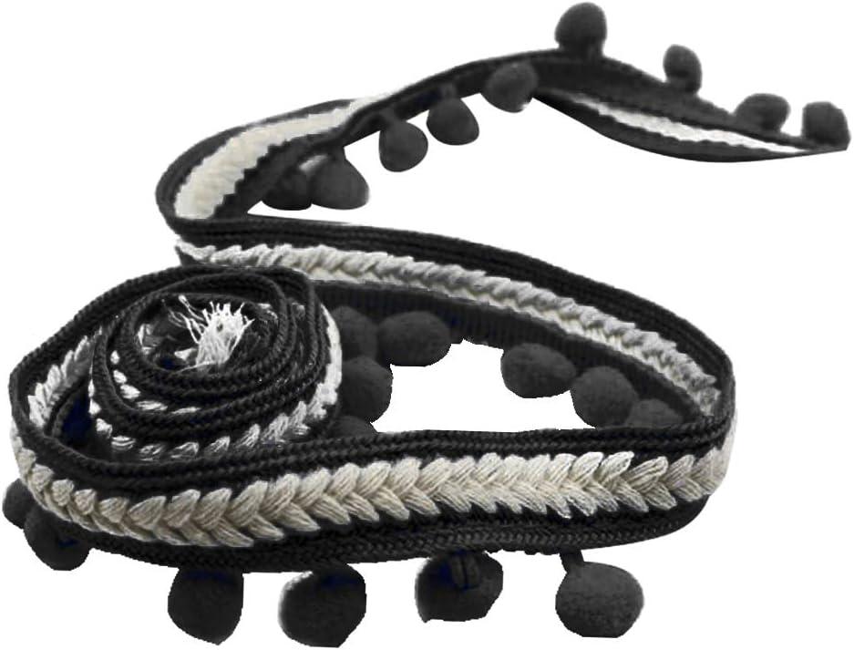 Black Harilla 5 Yards//Roll Colorful Pom Pom Lace Trim Plush Ball Fringe