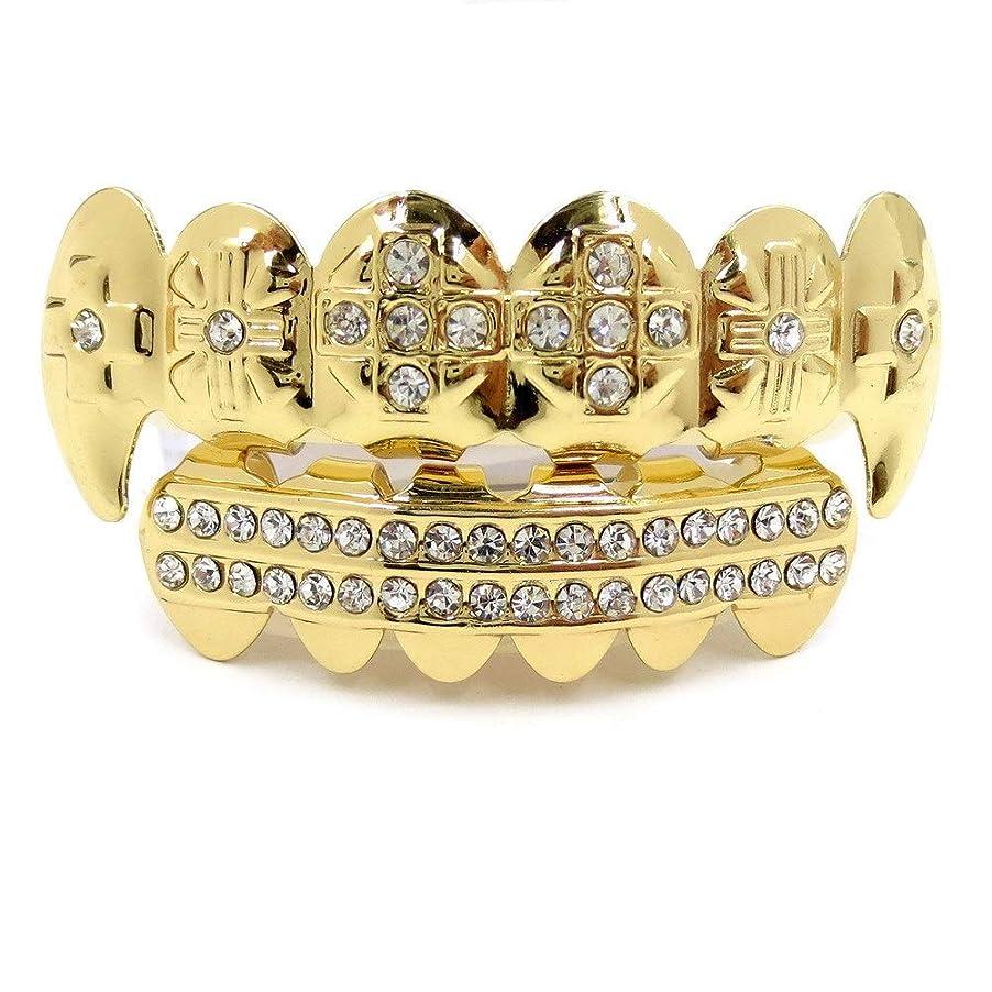 近所の裕福な販売員HIPHOPティースキャップ、ヨーロッパ系アメリカ人INS最もホットなゴールド&ブラック&シルバーの歯ブレースゴールドプレート口の歯 (Color : Gold)