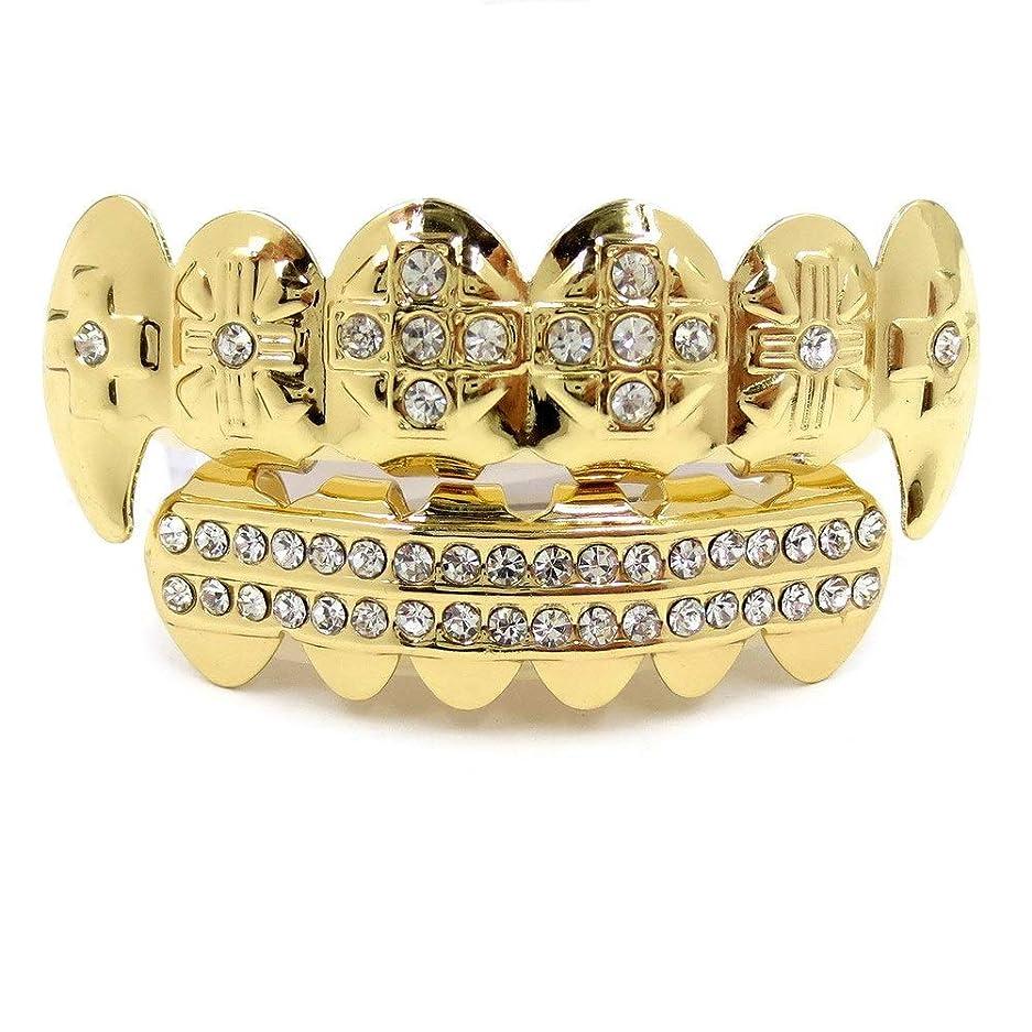 アカデミーパンフレット行為HIPHOPティースキャップ、ヨーロッパ系アメリカ人INS最もホットなゴールド&ブラック&シルバーの歯ブレースゴールドプレート口の歯 (Color : Gold)