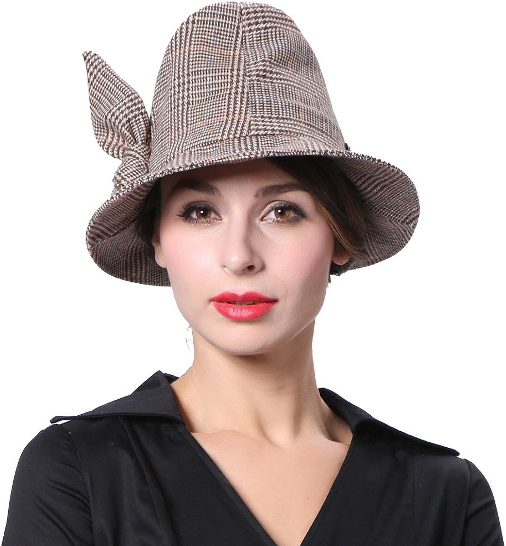 June's Young Women Hats Special Desgin Plaid Pattern Khaki color Fashion Caps