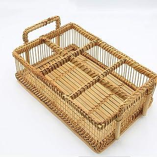 Sunny Hill Creative Bamboo Handmade Weaving Storage Basket for Food Fruit Tabletop Tea Cups Flowers Picnic Handle Basket K...