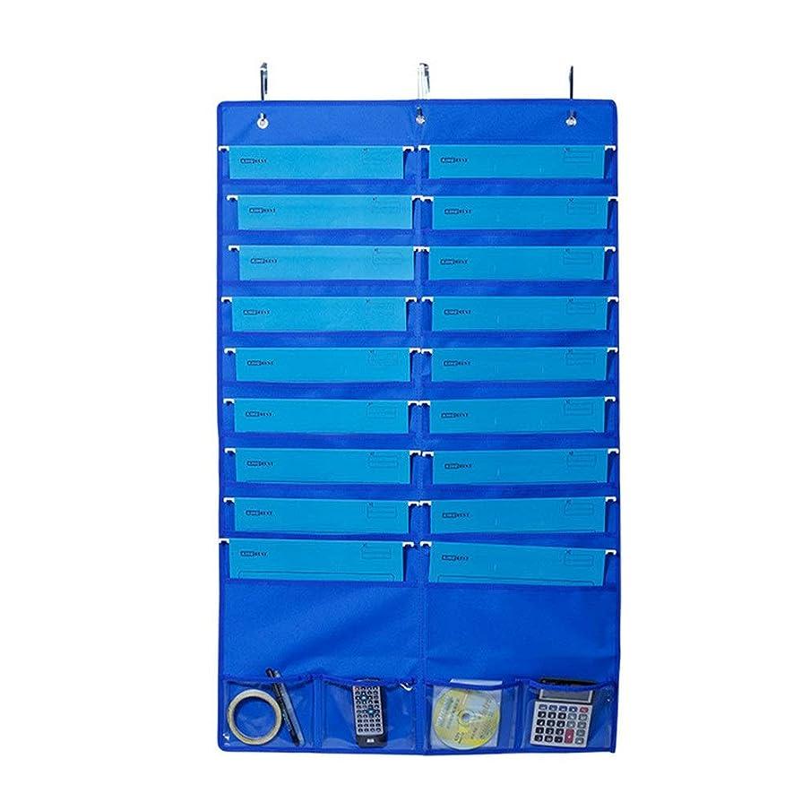 わずらわしい魚重要な役割を果たす、中心的な手段となるChaopeng オックスフォード布ファイル吊り袋、ドアの後ろの収納袋、学生本と雑誌の収納袋 (Color : ブルー)