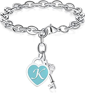 TONY & SANDYInitial Bracelets Heart Engraved 26 Letters Charms Bracelet Stainless Steel Silver Alphabet Bracelet with Cute Key Birthday Christmas Jewelry Gift for Women Teen Girls