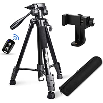 "Torjim 60"" Camera Tripod with Carry Bag, Lightweight Travel Aluminum Professional Tripod Stand (5kg/11lb Load) with Bluetooth Remote for DSLR SLR Cameras Compatible with Phone-Black"