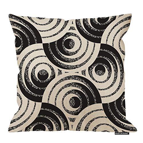 Funda de cojín geométrica, diseño de anillos con detalles ruidosos, funda de almohada decorativa de lino y algodón, 45,7 x 45,7 cm