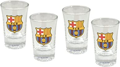 FC Barcelona Shot Glasses - Set of 4 Shot Glasses - Official FCB Product - Great For Any Barca Fan - Features Team Colors and Crest - FC Barcelona Shot Glasses - FC Barcelona Soccer