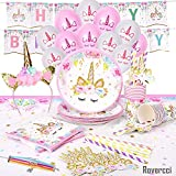 Unicorn Party Supplies Set & Tableware Kit | Birthday Decorations Bunting, Disposable Paper Plates, Cups,...