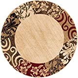Well Woven Verdant Vines Beige Modern Damask Border Rug 8 (7'10' Round) Casual Oriental Easy Clean Stain Fade Resistant Shed Free Contemporary Floral Formal Gradient Soft Living Dining Room Rug