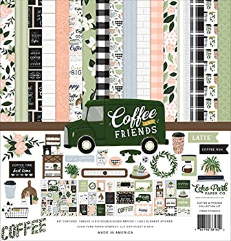 Echo Park Paper Company Coffee & Friends Collection Kit Paper 12-x-12-inch