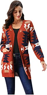 Women Christmas Tree Geometric Open Front Long Sleeve Cardigan Sweater Knitted V Neck Long Sleeve Knitted Ugly Christmas Cardigan Tops Outwear with Pockets
