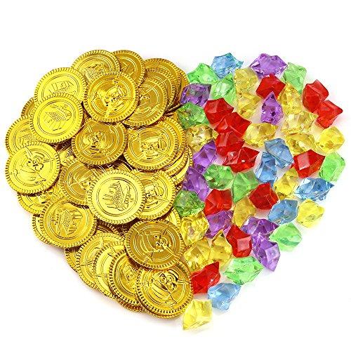 Pllieay 50 Stück Goldmünzen und 50 Stück Deko Diamanten Spielset Pack Parteibevorzugung