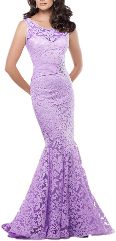 Yisha Bello Women's Elegant Lace Flower Mermaid Evening Formal Dress Long Tulle V Back Pro Gowns