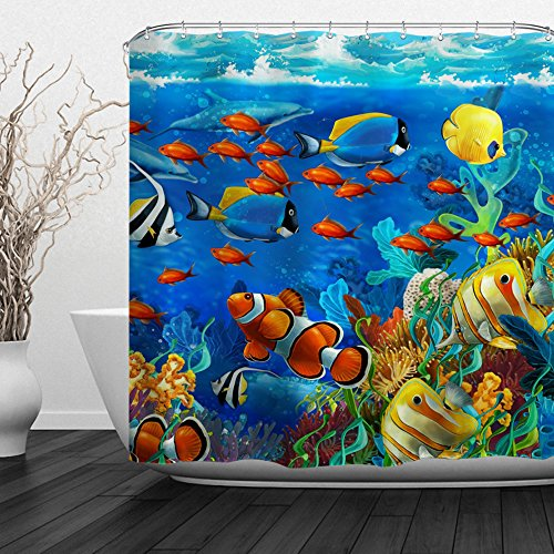 Baccessor Fish Shower Curtain Ocean Clear Undersea World Sea Animal with Corals Reefs and Tropical Fishes Waterproof Fabric, 72' W x 72' H (180CM x 180CM) - Sea Bottom Carnival
