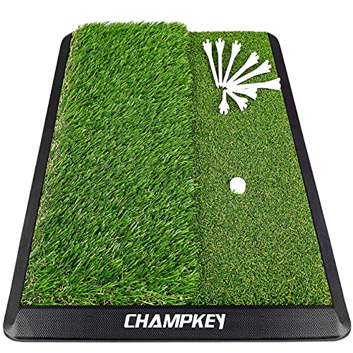Champkey Dual-Turf Golf Hitting Mat   Come with 9 Golf Tees & 1 Rubber Tee   Heavy Duty Rubber Backing Golf Practice Mat Ideal for Indoor & Outdoor Training