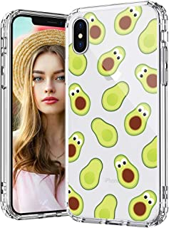 MOSNOVO iPhone Xs Max Case, Avocado Pattern Printed Clear Design Transparent Plastic Back Case with TPU Bumper Protective Case Cover for iPhone Xs Max