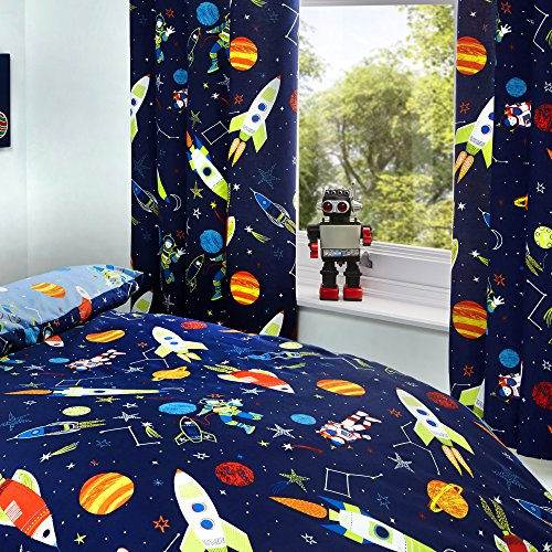 Bedlam Supersonic Bettbezug-Set, leuchtet im Dunkeln, 52% Polyester, 48% Baumwolle, Futter: 52% Polyester, 48% Baumwolle, blau, Curtains: 66' Width x 72' Drop (168 x 183cm)