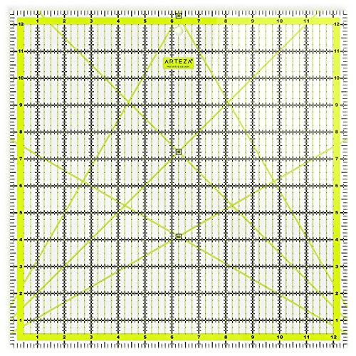 ARTEZA Patchwork-Lineal, transparentes Acryl Quilt-Lineal, 12.5 x 12.5 Zoll (31.75 x 31.75cm), Lineal für Quiltstoff mit zweifarbigen Rasterlinien